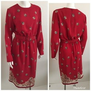 Bedford long sleeve dress Size Medium red belted
